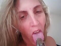 Felicia eating her own cum